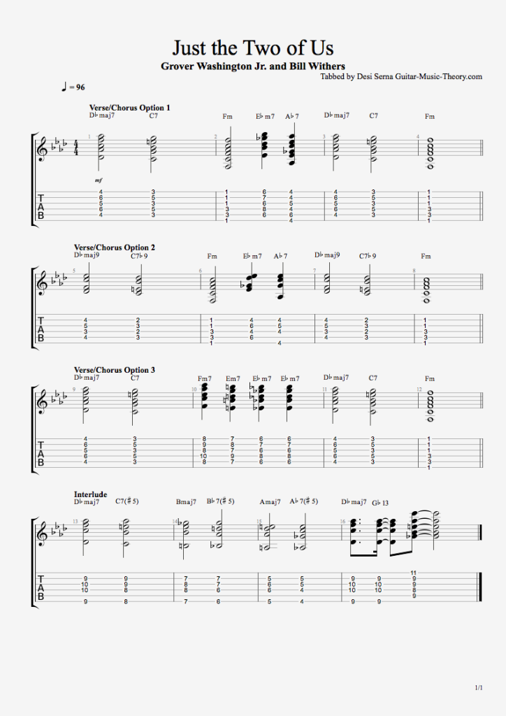 Just the Two of Us Chords and Guitar Tab
