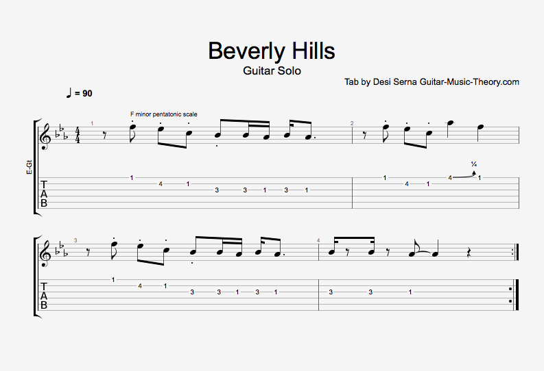 Beverly Hills Guitar Solo Tab : Guitar Music Theory Lessons with Desi Serna