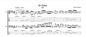 Sir Duke Pentatonic Guitar and Bass Riff Tab