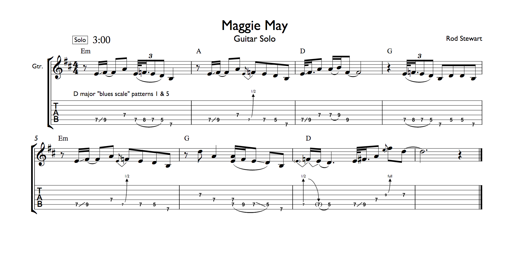 maggie may guitar tab pdf