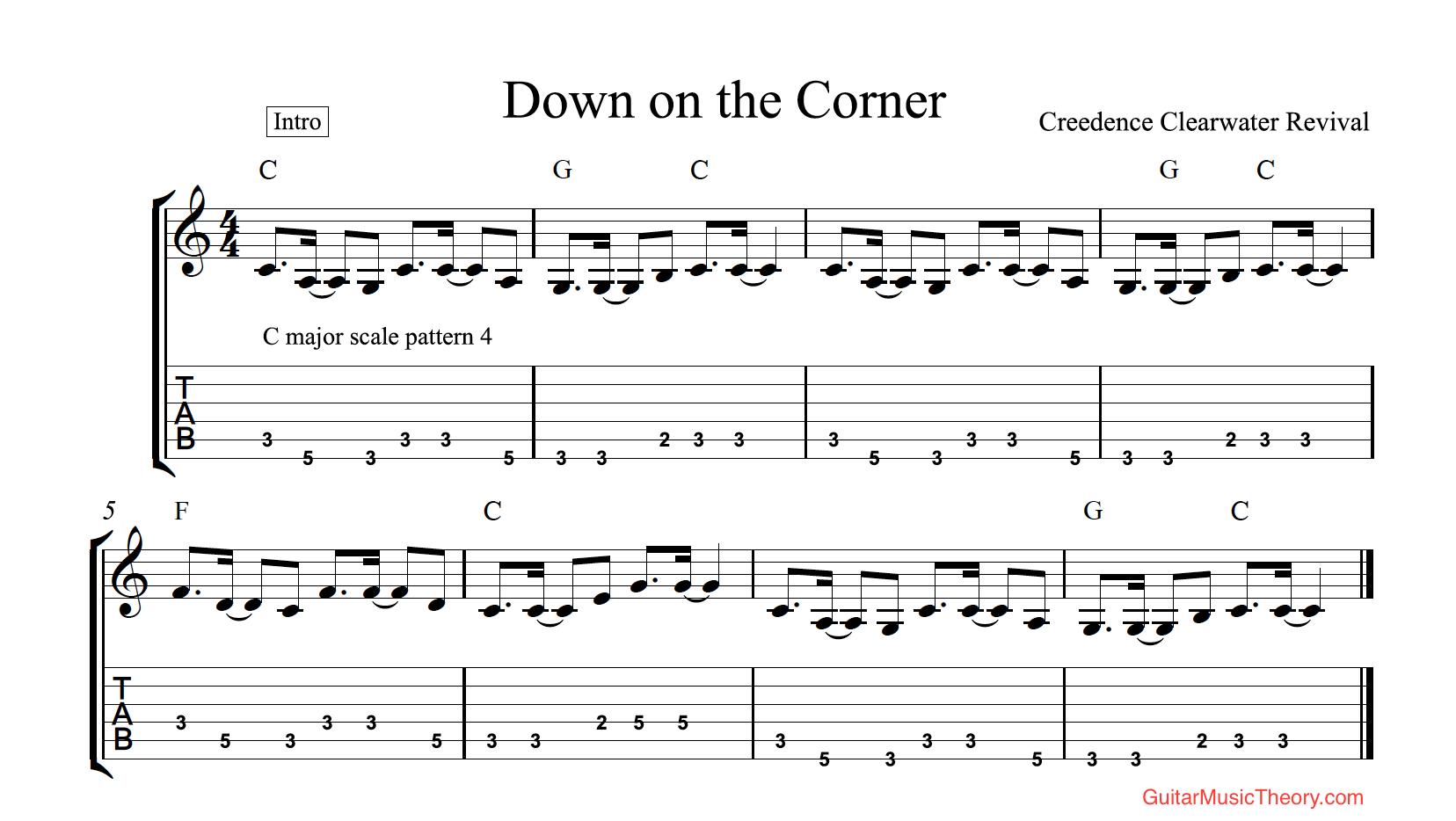 Down On the Corner Tab   Guitar Music Theory by Desi Serna