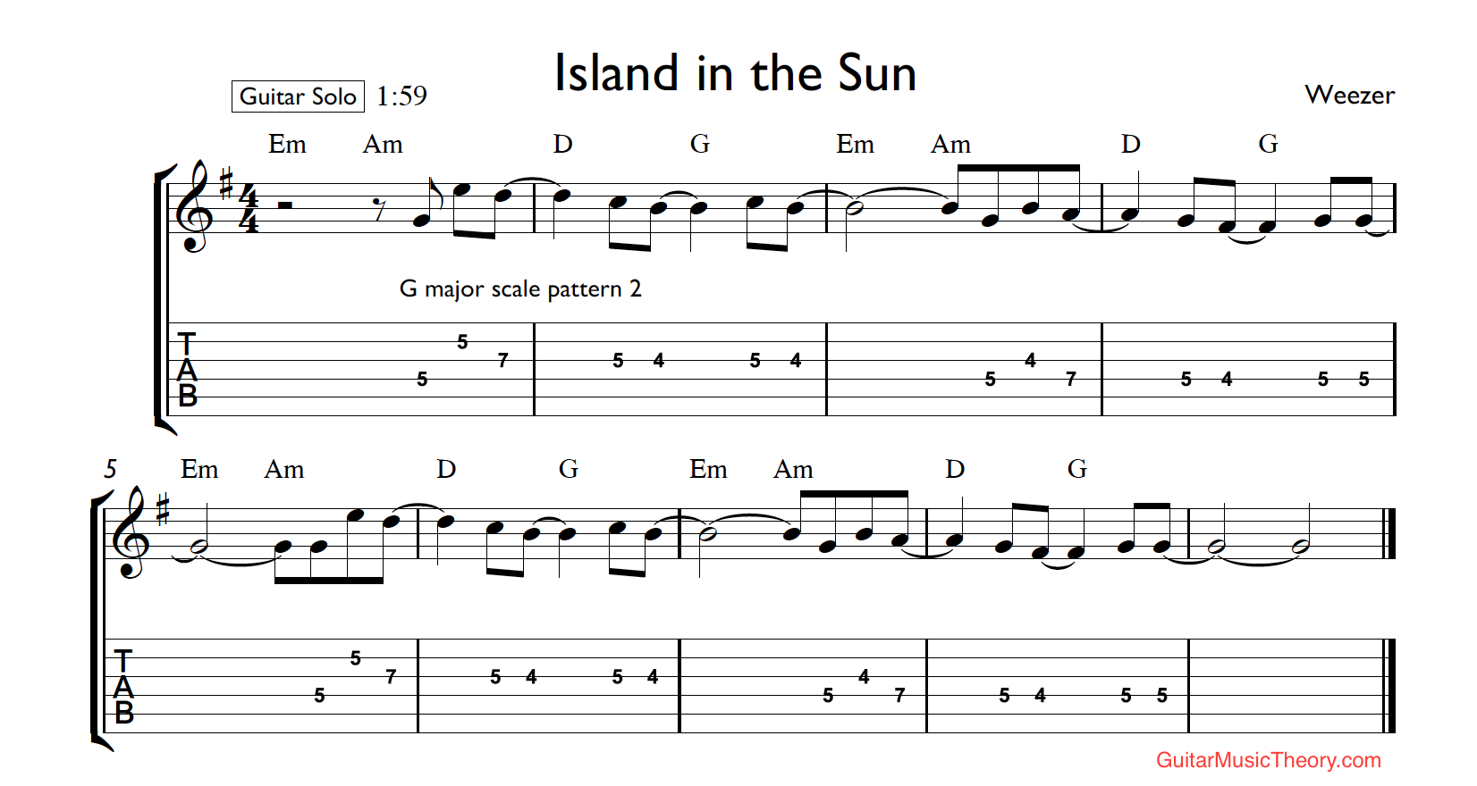 island in the sun tab