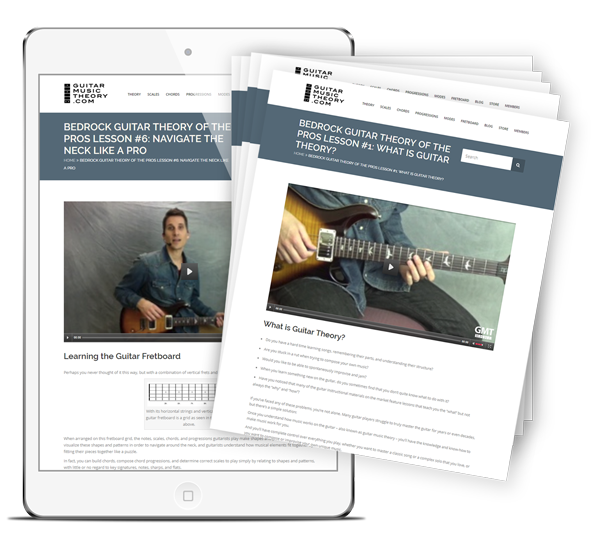 """FREE 6-Step Email Course """"Bedrock Guitar Theory of the Pros"""""""