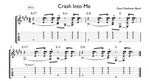 crash into me tab introduction chords