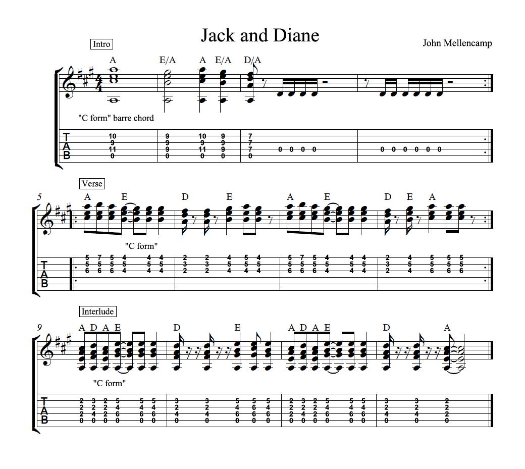 Jack and Diane Chords, Tab, Video Guitar Lesson   Guitar Music ...