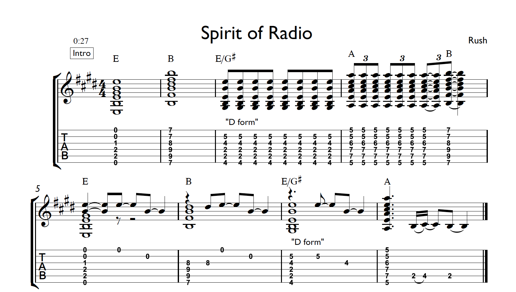 Rush Tab The Spirit Of Radio Guitar Chord Inversion Lesson Guitar Music Theory By Desi Serna