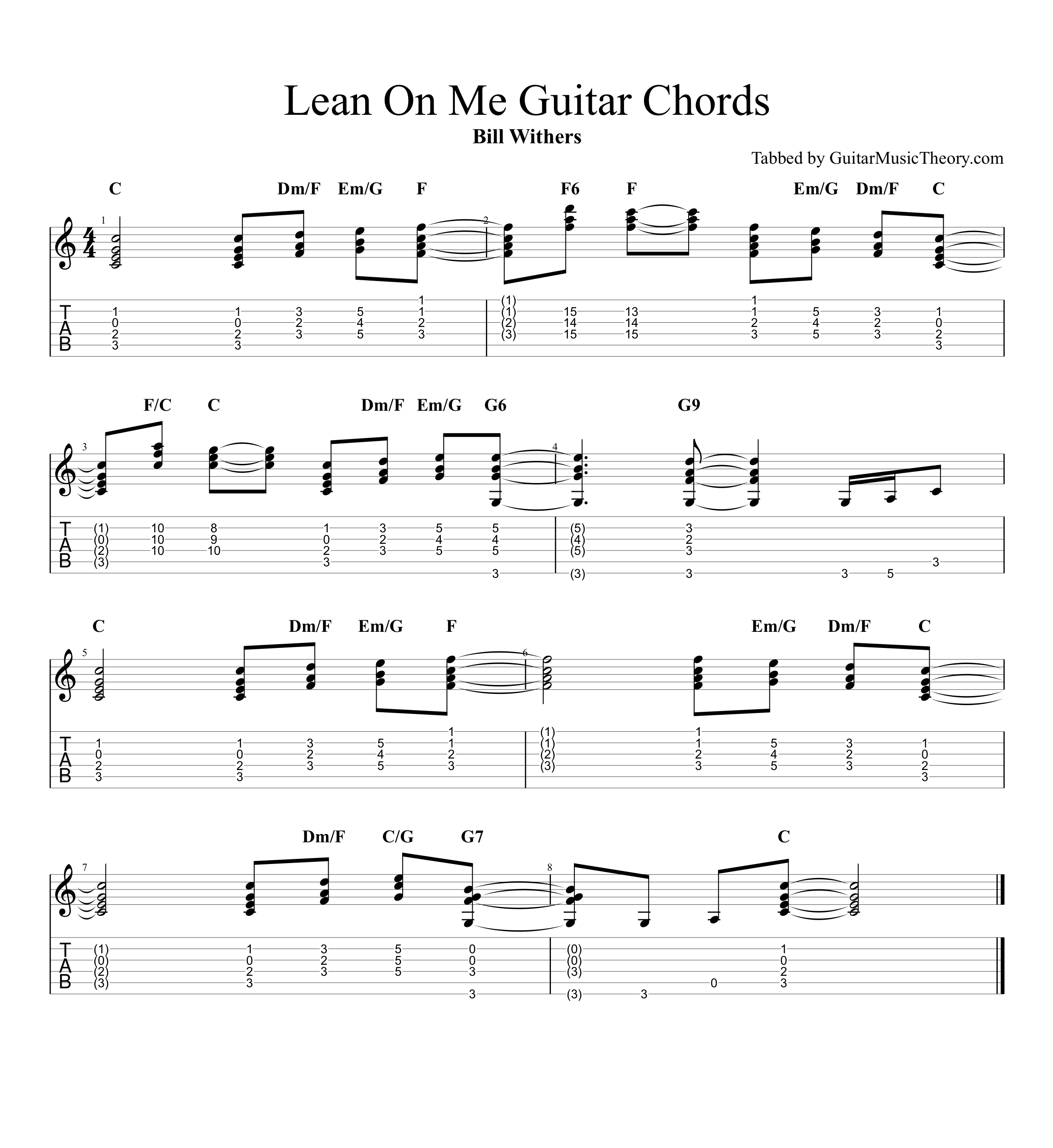 Lean On Me Bill Withers Guitar Chords